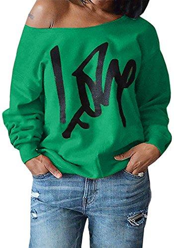 Womens Off Shoulder Pullover Sweatshirt Love Letter Printed Tops Shirts Apple Green Medium