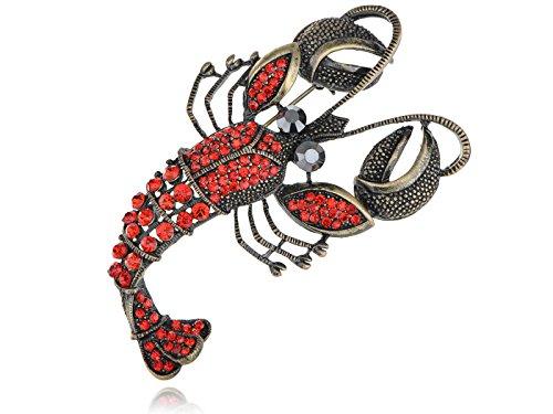 Alilang Antique Golden Tone Red Orange Rhinestones Vintage Lobster Crab Brooch (Vintage Lobster)