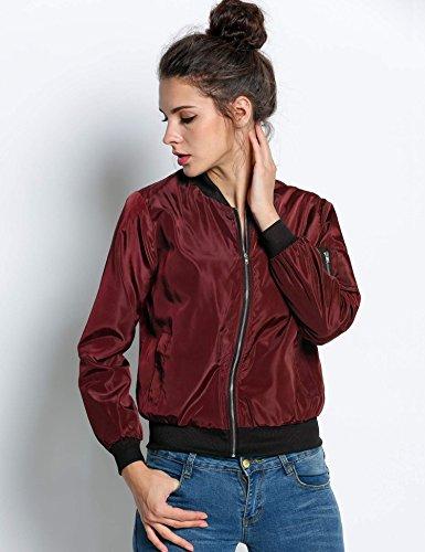 Biker Rouge Casual Bomber Mode Manteau Veste Mince Blouson Souple Pagacat Moto Femme Jacket Nouvelle Zipper Court nxZFwWfqv