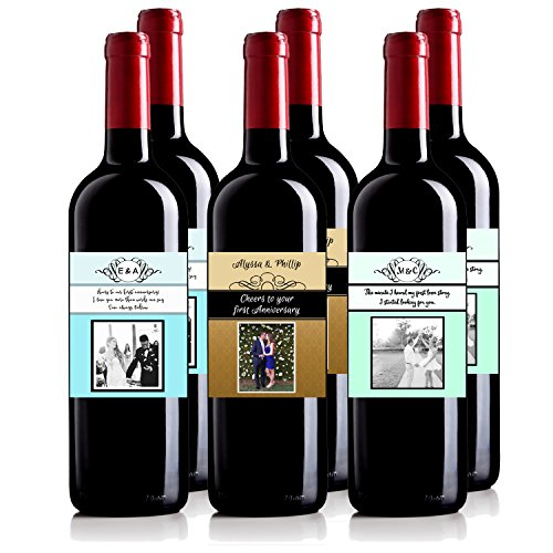 Personalized Wine Bottle Labels For Anniversary Wedding Engagement Gift Bridal Shower Bachelorette Bride Wine Mixed Pack 6 750 mL