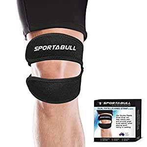 Dual Action Knee Strap, Open-Patella Stabilizer Knee Support with Adjustable Strapping. Relieves Meniscus Tear, Arthritis, Tendonitis Pain and Weakened Knees. Non Slip Breathable Neoprene