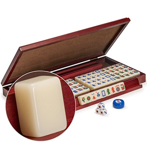 - Yellow Mountain Imports American Mahjong Set, Mini Classic Tiles with Portable Vinyl Case - Four Wooden Racks, Dice, & Wind Indicator
