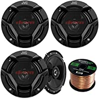 Car Speaker Package Of 2 Pairs of JVC CS-DR620 DR Sereis 6.5 Inch 300 Watt 2-Way Upgarde Audio Stereo Coaxial Speakers Bundle Combo With Enrock 50 Foot 16 Guage Speaker Wire
