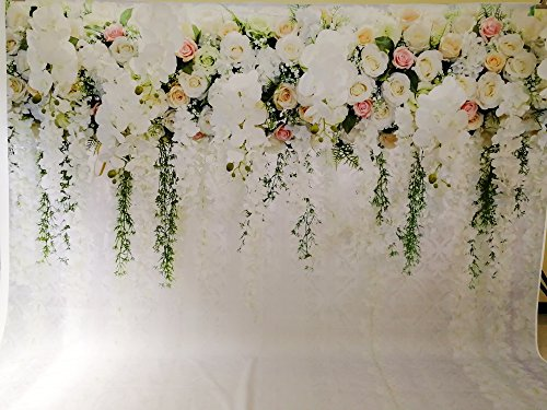 HUAYI 10x8ft White Flower Backdrop Curtain Floral 3d flower Wedding Party Background Photo Backdrop for wedding reception Baby shower Photo Booth Props Xt-6749 by HUAYI (Image #1)
