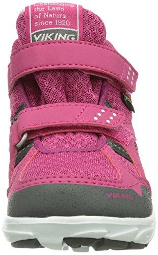 Viking Hobbit Mid GTX - Zapatillas De Deporte Para Exterior de material sintético infantil Rosa - Pink (Dark Pink/Grey 3903)
