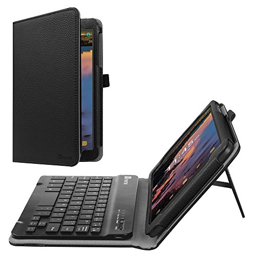 Fintie Alcatel A30 Tablet 8 Keyboard Case (2017 Released) - PU Leather Folio Stand Cover with Removable Wireless Bluetooth Keyboard for T-Mobile Alcatel A30 Tablet 8 inch, Black