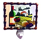 Continental Art Center NL0201 Hand Painted Glass with Night Light Tuscany Wine Country, 5.2 by 5.6 by 1.6-Inch
