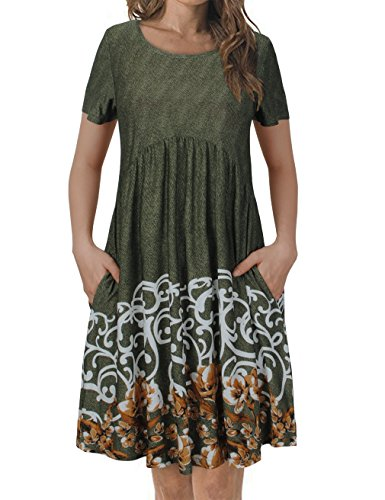 (FANSIC Womens Short Sleeve Floral Printed Pleated Swing Midi Dress with Pockets,XX-Large Green)
