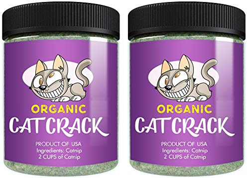 Cat Crack Organic Catnip, Premium Blend Safe for Cats, Infused with Maximum Potency Your Kitty is Guaranteed to Go Crazy for! (2 Cups)