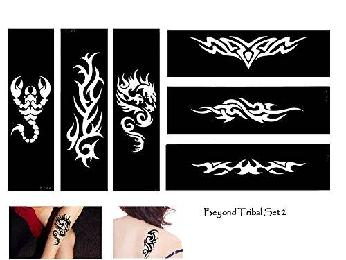 Beyond Tattoos Tattoo Stencil Template Tribal Designs 6 Sheet Set Tribal 6