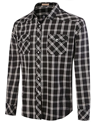 Misakia Men's Long Sleeve Plaid Pearl Snap Western Shirt (Plaid1 XXL) (Western Snap Shirt Slim Pearl)