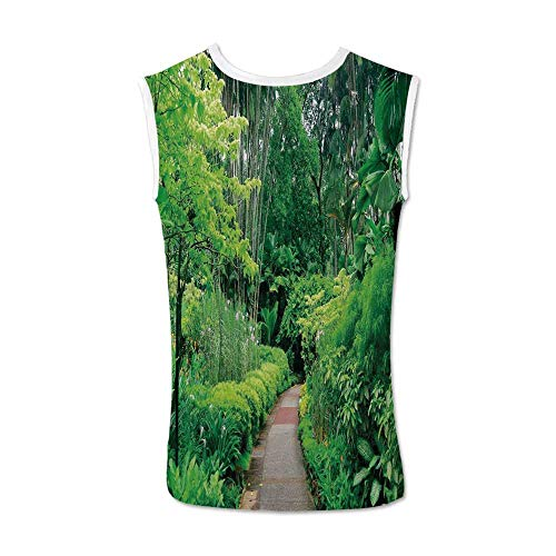 Forest Comfortable Tank Top,Green Plants Trees in Singapore Asia Botanic Gardens Walkway Travel Destination Arboretum for Men,XXL