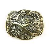 Jormungand belt buckle, Handmade scandianavian Ouroboros dragon solid brass belt buckle