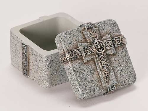 - Confirmation Fray Stone Scroll Design Cross Keepsake Jewelry Rosary Box