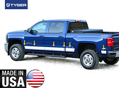 Tyger Auto Made In USA! TYGER Works With 14-2015 Chevy Silverado Crew Cab 6.8' Short Bed Rocker Panel Trim 5.5'' Wide 12PC