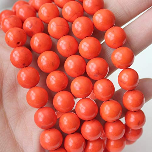 - Orange Magnesite, 10mm Round, Gemstone Beads, Full Strand, 16'', Sold as Approx. 40 Beads.