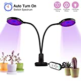 Grow Lights - [2018 Upgraded] Auledio 30W Dual Head Auto Timing 156 LED 5 Dimmable Levels LED Plant Grow Lamp for Indoor Plants with Red/Blue Spectrum, Adjustable Gooseneck, 4/8/12H Timer, 9 Switch Modes