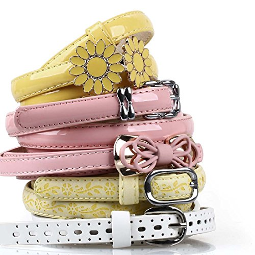 BMC Womens 5pc Mix Color Faux Leather Fashion Statement Skinny Belts Bundle-Set 7, Fun + - Floral Belt