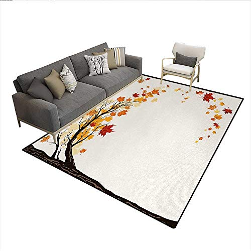 Carpet,Leaf Group Motion in Mother Earth Transition from Summer to Winter Season Theme,Rug Kid Carpet,Brown OrangeSize:5'x6' -