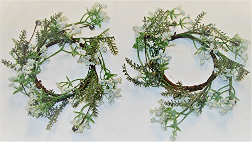 Pair! Christmas Holiday Fern, Baby's Breath, and Silver Bells Candle Rings (Bell Silver Wreath)