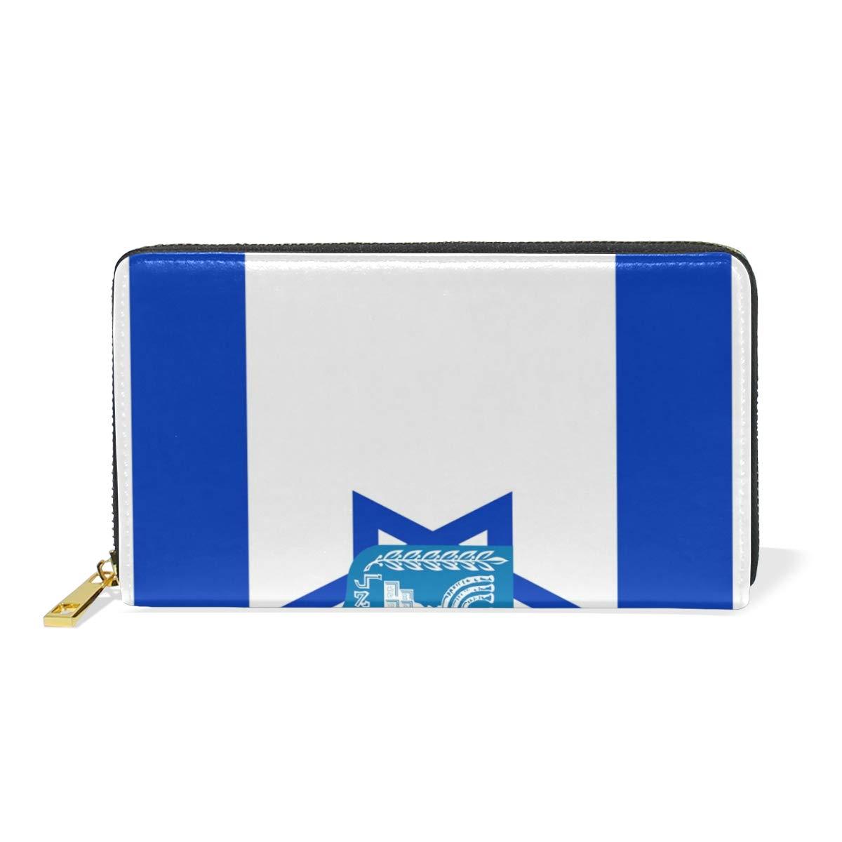 Slim Minimalist Leather Wallets For Women Men Israel Flag National Emblem
