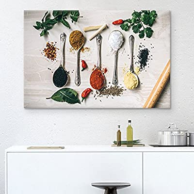 Canvas Wall Art - Spoons Seasonings - Giclee Print Gallery Wrap Modern Home Art Ready to Hang - 12x18 inches