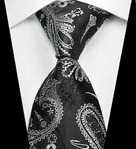 Paisley Taupe Collar (Calvinci - Classic Paisleys Black White JACQUARD WOVEN Silk Men's Tie Necktie TGIN 120222)