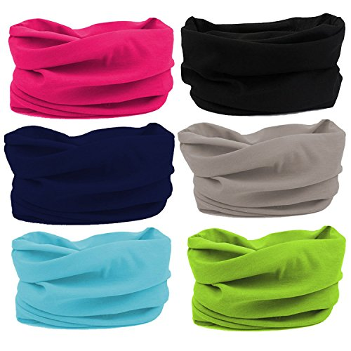 Oureamod Wide Headbands for Men and Women Athletic Moisture Wicking Headwear for Sports,Workout,Yoga Multi Function (Multi Color) ()