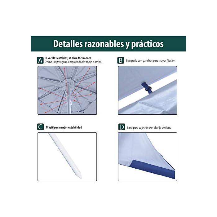 51JRgsrgVPL ✅Sombrilla 2 en 1: Parasol tradicional + Tienda espaciosa con paneles laterales paravientos. Equipado con 5 ganchos y 1 lazo D para mayor fijación. ✅Cubierta de tela poliéster de alta calidad con revestimiento UV50, que protege eficazmente contra el sol y los rayos UV. Resistente a las inclemencias del tiempo. ✅Cubierta de tela poliéster de alta calidad con revestimiento UV50, que protege eficazmente contra el sol y los rayos UV. Resistente a las inclemencias del tiempo.