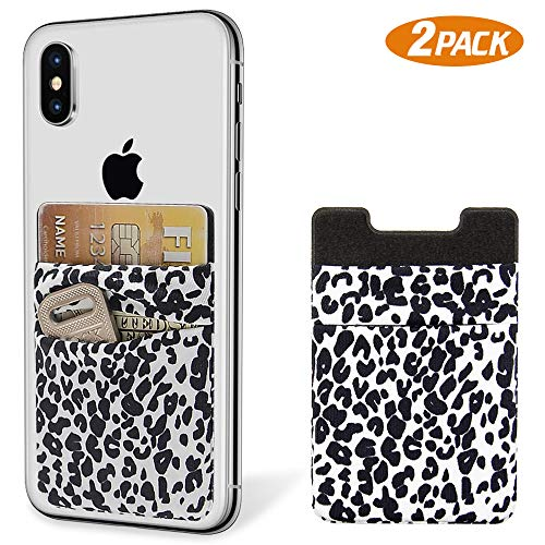 SHANSHUI Phone Wallet, 2 Pack Phone Stick On Wallet Card Holder Pocket for iPhone, Android and All Smartphones-White Cheetah