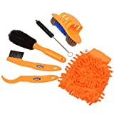 inkint 6pcs Bicycle Cleaning Tool kits Bike Cleaner set Tire Wheel Brush Chain Wash Brake Disc Cleaner Bike Clean Mitt