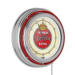 Trademark Gameroom Corona Chrome Double Rung Neon Clock - Vintage
