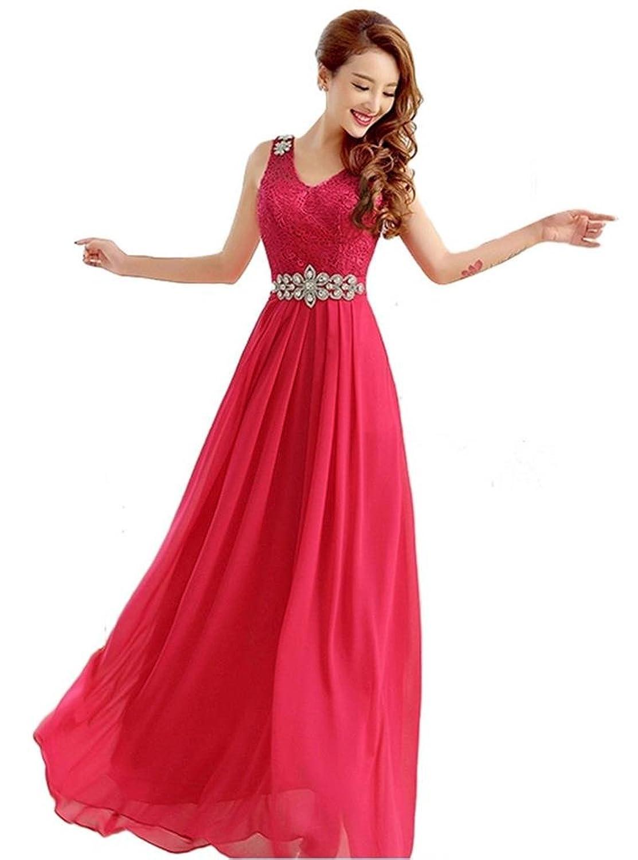 YORFORMALS Women's V-neck Column Floor Length Chiffon Prom Dress