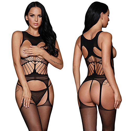 Crotchless Set - Jelove Women Sexy Crotchless Fishnet Bodystocking Striped Bodysuit Lingerie Set (Black-1)