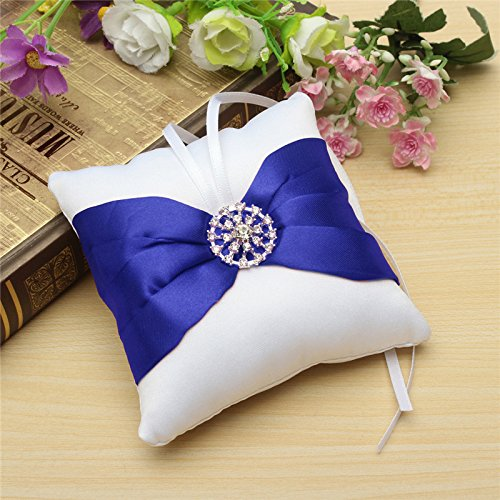 Worldoor® Best Promotion Beautiful White Satin Bowknot Diamante Romantic Wedding Ring Pillow Wedding Ring Pillow Cushion by Worldoor