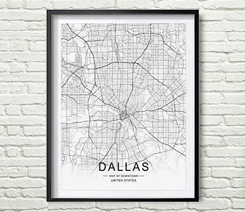 Amazon Com Dallas Street Map Print Dallas Map Decor City Road Art