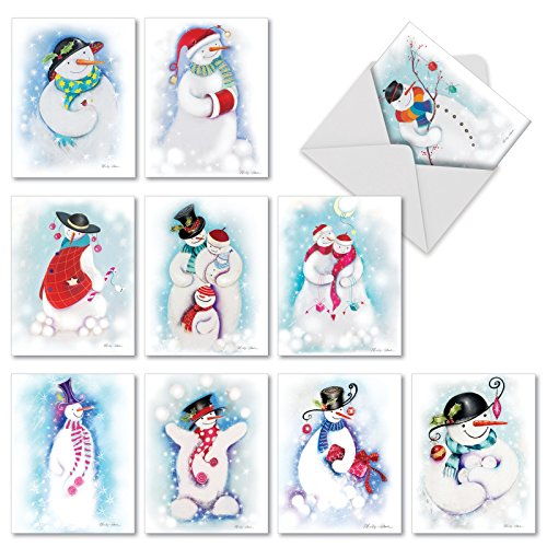10 Assorted 'Festive Snowmen' Blank All Occasion Greeting Cards, Boxed Set of Lovely Snowman Holiday Notes, Snowmen Dressed in Winter Clothes Christmas Cards, Happy Snowman Cards M10004XB]()