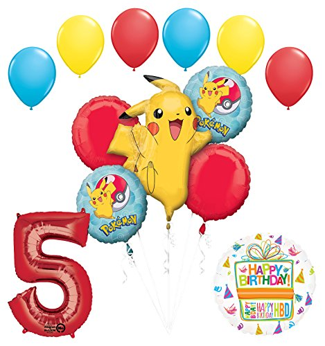 Mayflower Products Pokemon 5th Birthday Party Supplies and Balloon Bouquet Decorations -