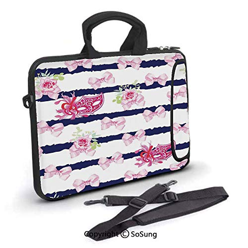 15 inch Laptop Case,Venetian Style Carnival Masks on Stripes with Satin Bows Roses Flowers Neoprene Laptop Shoulder Bag Sleeve Case with Handle and Carrying & External Side Pocket,for Netbook/MacBook (Venetian Stripe)