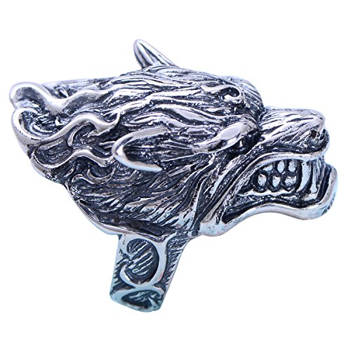 Big Vintage Real 925 Sterling Silver Black Wolf Head Ring Jewelry for Men Size 9