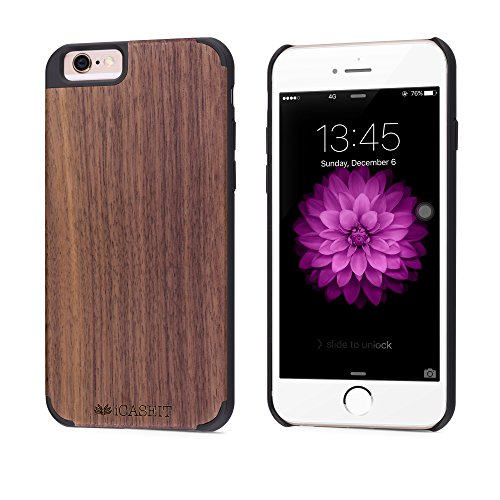 iCASEIT iPhone 6S Wood Case - Premium Finish Unique Cases - Lightweight Natural Wooden Hybrid Snap-on Protective Cover for iPhone 6 & 6S - Walnut/Black