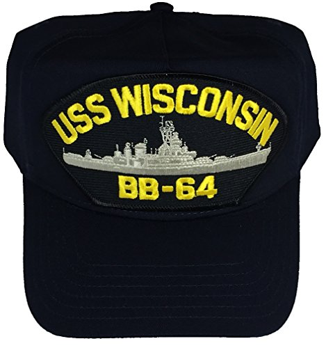 USS WISCONSIN BB-64 Hat - NAVY BLUE - Veteran Owned (Wisconsin Bb)