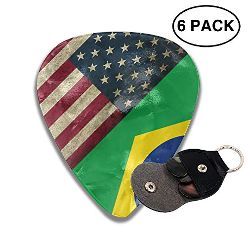 JTBP6-id Guitar Picks American Flag and Brazil Flag 351 Shape Guitar Plectrums for Bass Electric Guitar Acoustic Guitar,6 Packs ()