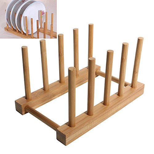 WINIT Bamboo Dish Drying Holder Rack, Vertical Plate Dishes