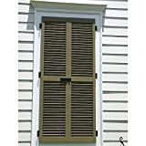 """Ekena Millwork CWL15X025WHC Exterior Composite Wood Louvered Shutters with Installation Brackets (Per Pair), White, 15"""" W x 25"""" H"""