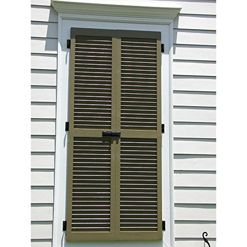 Ekena Millwork Cwl18x055prc Exterior Composite Wood Louvered Shutters With Installation Brackets