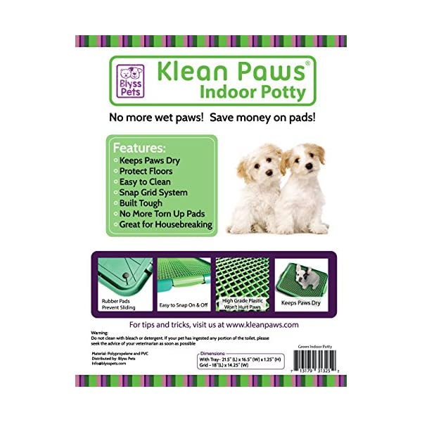 (Green) – Klean Paws Indoor Dog Potty, No Torn Potty Pads Keep Paws Dry Protect Floors Easy Cleanup Save Money On Pads… Click on image for further info. 2