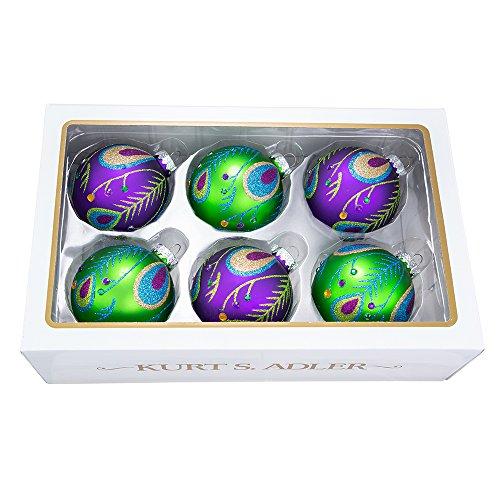 Green Glitter Ball - Kurt Adler 80 Mm Peacock Purple Green Glitter Balls 6 Piece