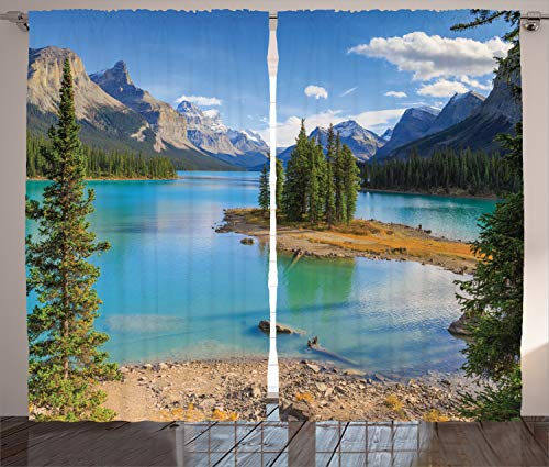 "Ambesonne Landscape Curtains, Maligne Lake in Jasper Natioanal Park Alberta Canada Summer Day Outdoor Picture, Living Room Bedroom Window Drapes 2 Panel Set, 108"" X 90"", Green Blue"