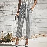 Pervobs Women Pants, Clearance! Women Fashion Loose Stripe High Waist Elastic Waist Straight Wide Leg Pants Trousers